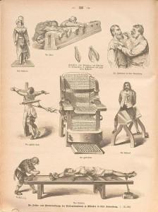 Folter- und Marterwerkzeuge.Aus: Illustriertes Unterhaltungs-Blatt, Darmstadt, 1884, S. 388–389